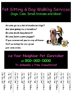 Start Your Own Small Business With Professional Forms And Support Pet Sitting Dog Walking Flyer 9
