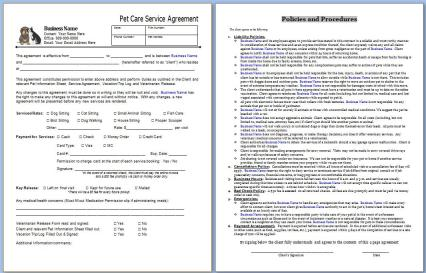 Start Your Own Small Business With Professional Business Forms And Support    Pet Sitting Service Agreement Contract