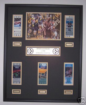 b92a80c5b Alabama and Auburn Framed Prints - Pittsburgh Steelers Super Bowl ticket  display w  Legacy photo - 5 Championships!