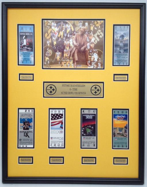 3188d1583 Alabama and Auburn Framed Prints - Pittsburgh Steelers Super Bowl ticket  display - All 6 Championship tickets